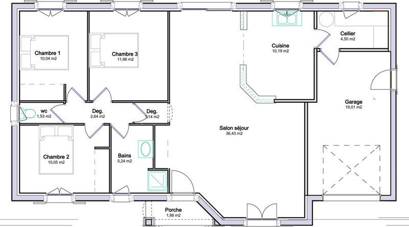 Plan de maison plein pied avec garage plans pinterest for Plan de maison en l avec garage