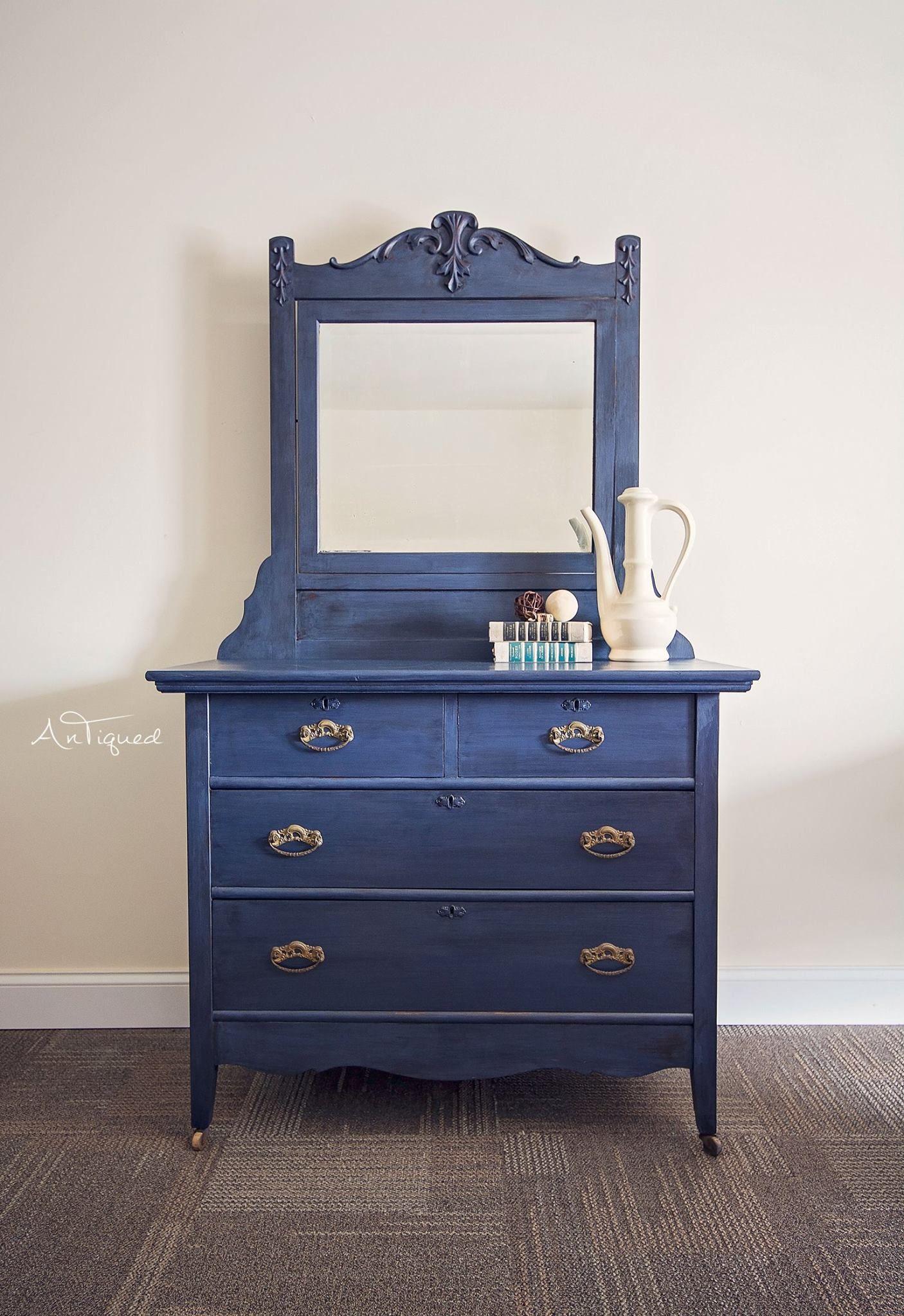 Navy Blue Chalk Painted Antique Dresser With Mirror Blue