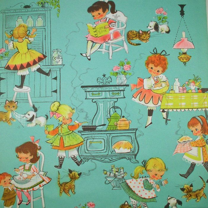Girls Cook Vintage Gift Wrap Kittens Puppies Too This Item Sold On April 24 2012 H Vintage Illustration Vintage Paper Dolls Vintage Wrapping Paper