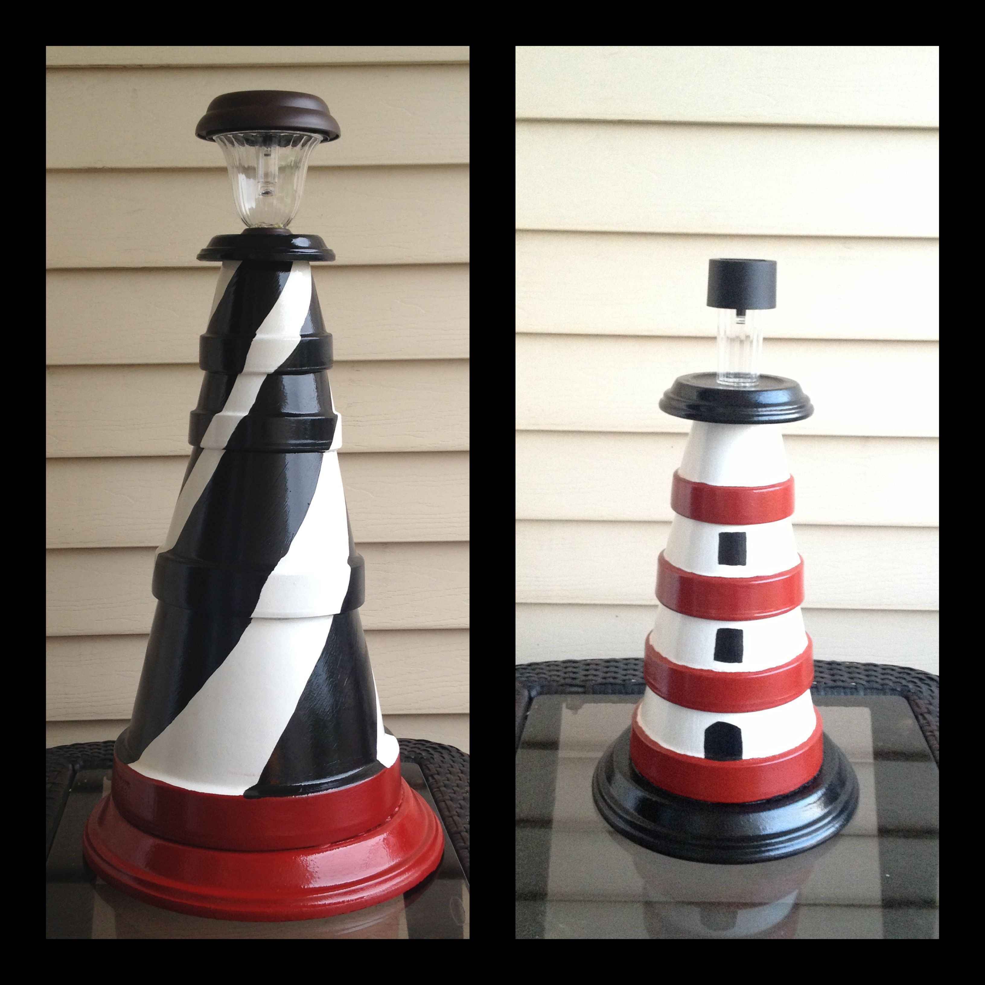 Diy make a clay pot lighthouse diy craft projects - Clay Pot Lighthouses