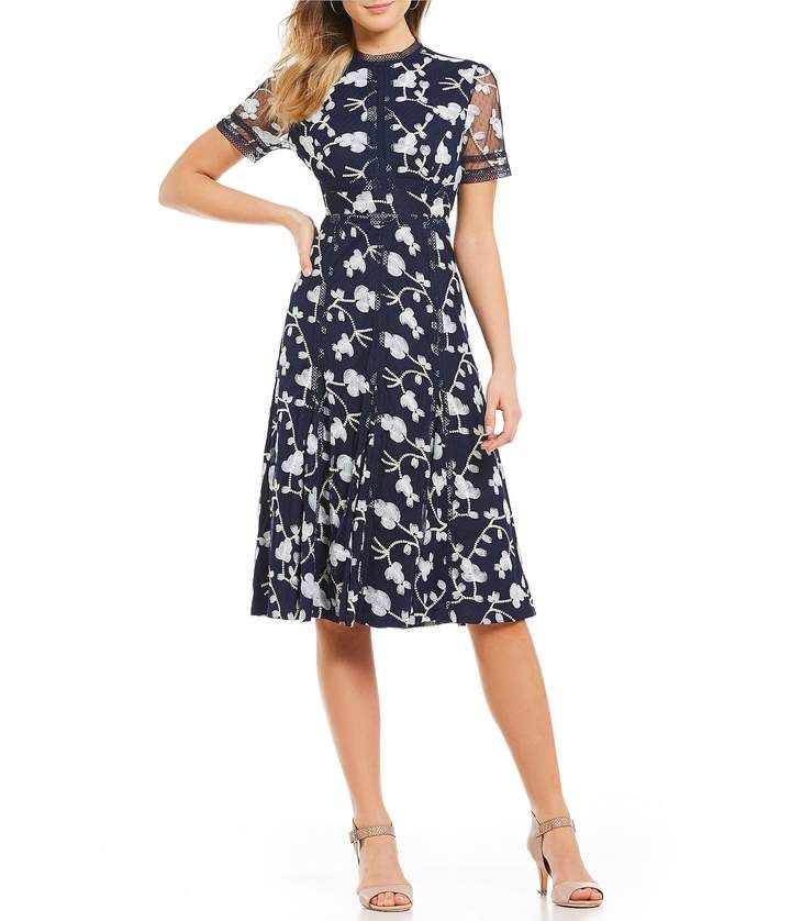 faa8d5ccf34 Antonio Melani Britt Floral Embroidered Tulle Midi Dress