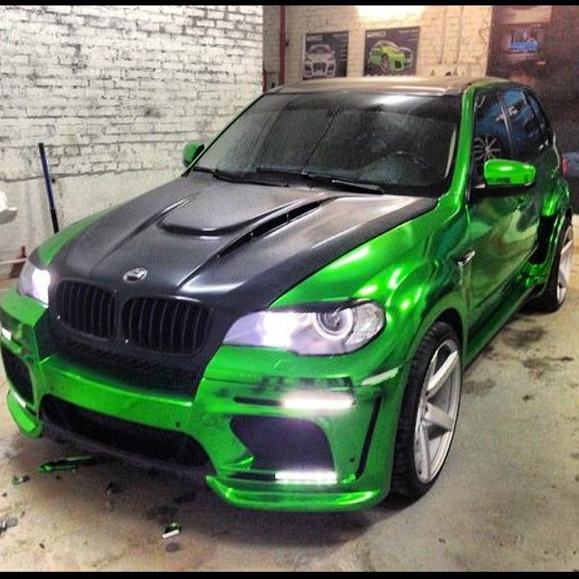Green Chrome Vinyl Wrap Wred Bmw X5 Russia Ruswheels Vossen Wheels