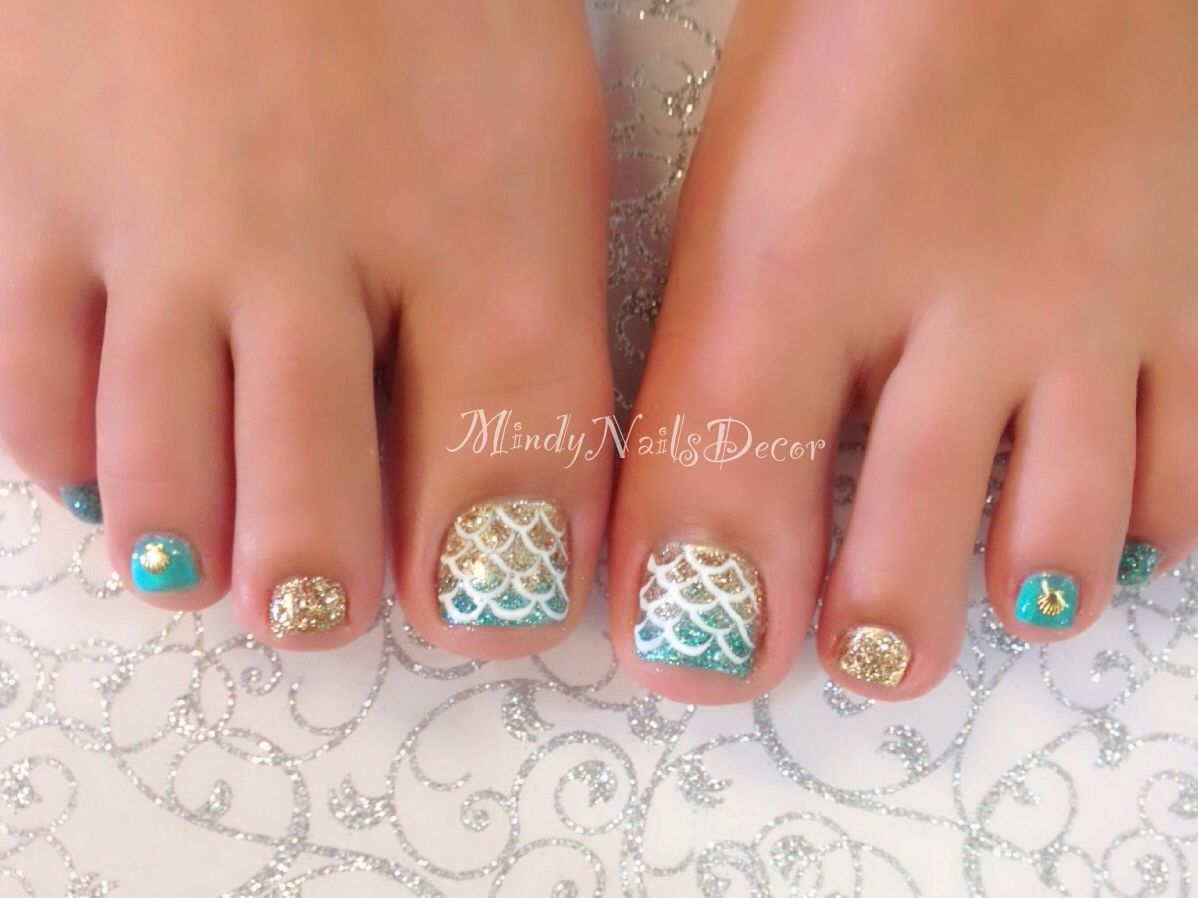 Mermaid Pedicure Beach Toe Nails Summer Toe Nails Pretty Toe Nails