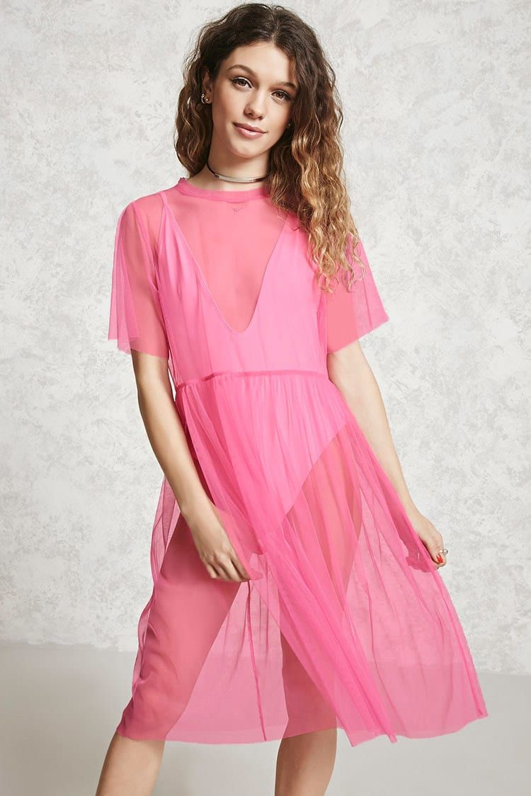 Pink dress forever 21  A sheer mesh dress featuring a round neck short sleeves and a