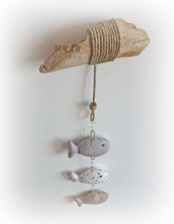 Décoration chambre d\'enfant, bébé.Trois Poissons tissus gris et ...