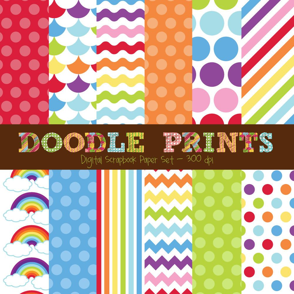Scrapbook ideas rainbow - Rainbow Digital Scrapbook Printable Paper Set Digital Paper Rainbow Digital Paper Bright Colors