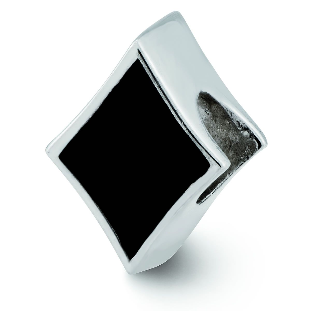 Sterling Silver Black Enameled Diamond Reflections Bead