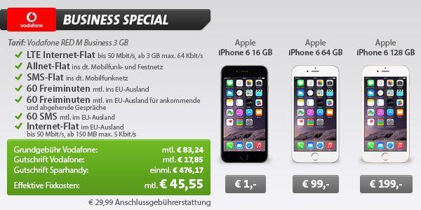 Vodafone RED M Business 3GB für 45,55€ + iPhone 6 ab 1€ http://www.simdealz.de/vodafone/vodafone-red-m-business-mit-iphone-6/
