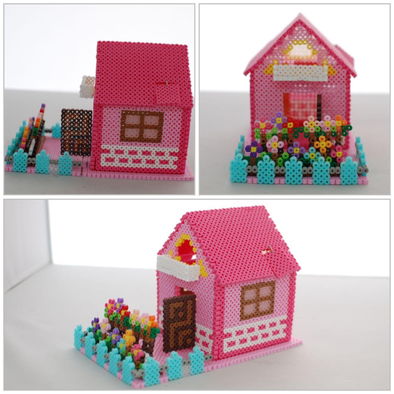b gelperlen 3d haus basteln mit b gelperlen kindergeburtstag. Black Bedroom Furniture Sets. Home Design Ideas