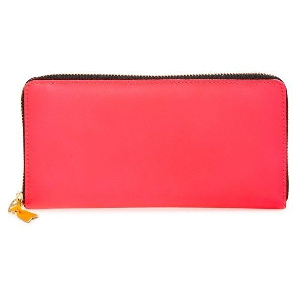 Comme des Garcons 'Super Fluo' Continental Long Wallet (€260) ❤ liked on Polyvore featuring bags, wallets, pink, leather change purse, coin pouch, long leather wallet, pink wallet and comme des garcons wallet