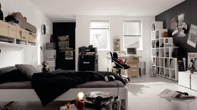 jugendzimmer einrichten junge schwarz weiß gitarren musik - schlafzimmer schwarz wei
