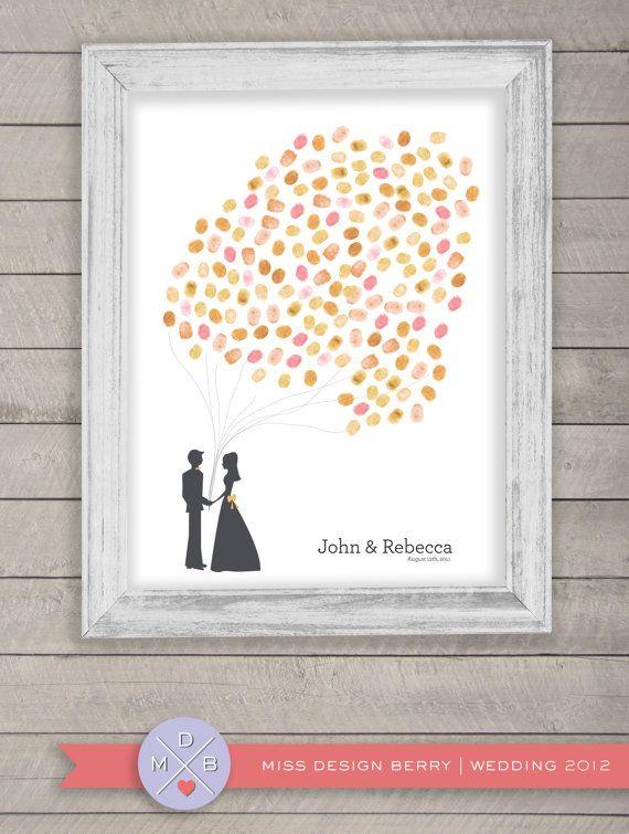 thumbprint wedding guest book alternative - fingerprint balloons with couple silhouette (printable)
