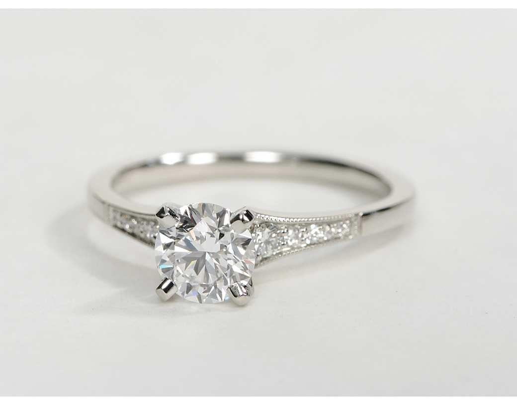 082 carat diamond graduated milgrain diamond engagement ring recently purchased blue nile - Wedding Rings Diamond