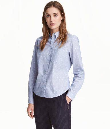 b946d6732062 Camisa de algodón | Azul claro/Lunares | Mujer | H&M MX | H&M ...