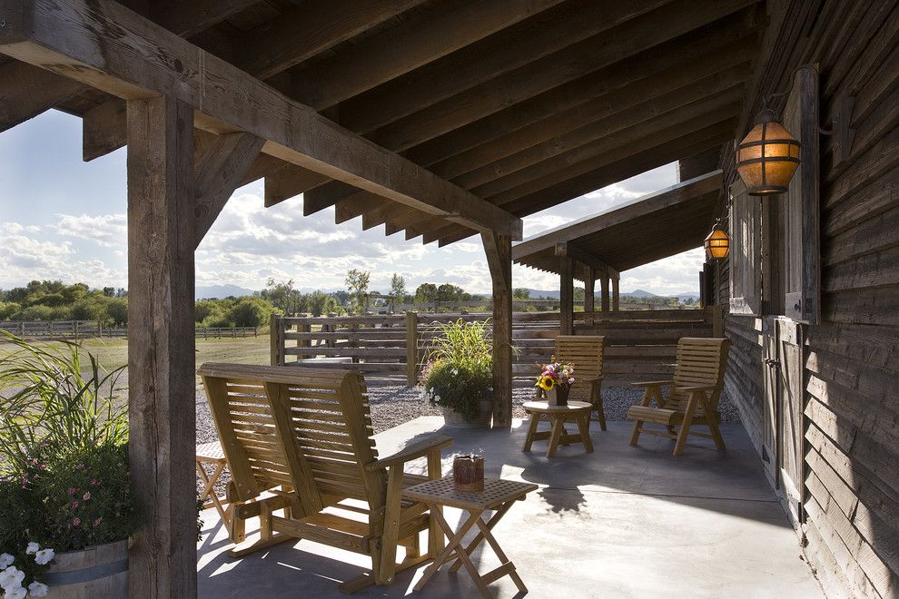 Nice Sumptuous Porch Glider In Patio Rustic With Roof Extension Cover Next To Support  Beams Alongside Split Rail Fence And Ranch Porch