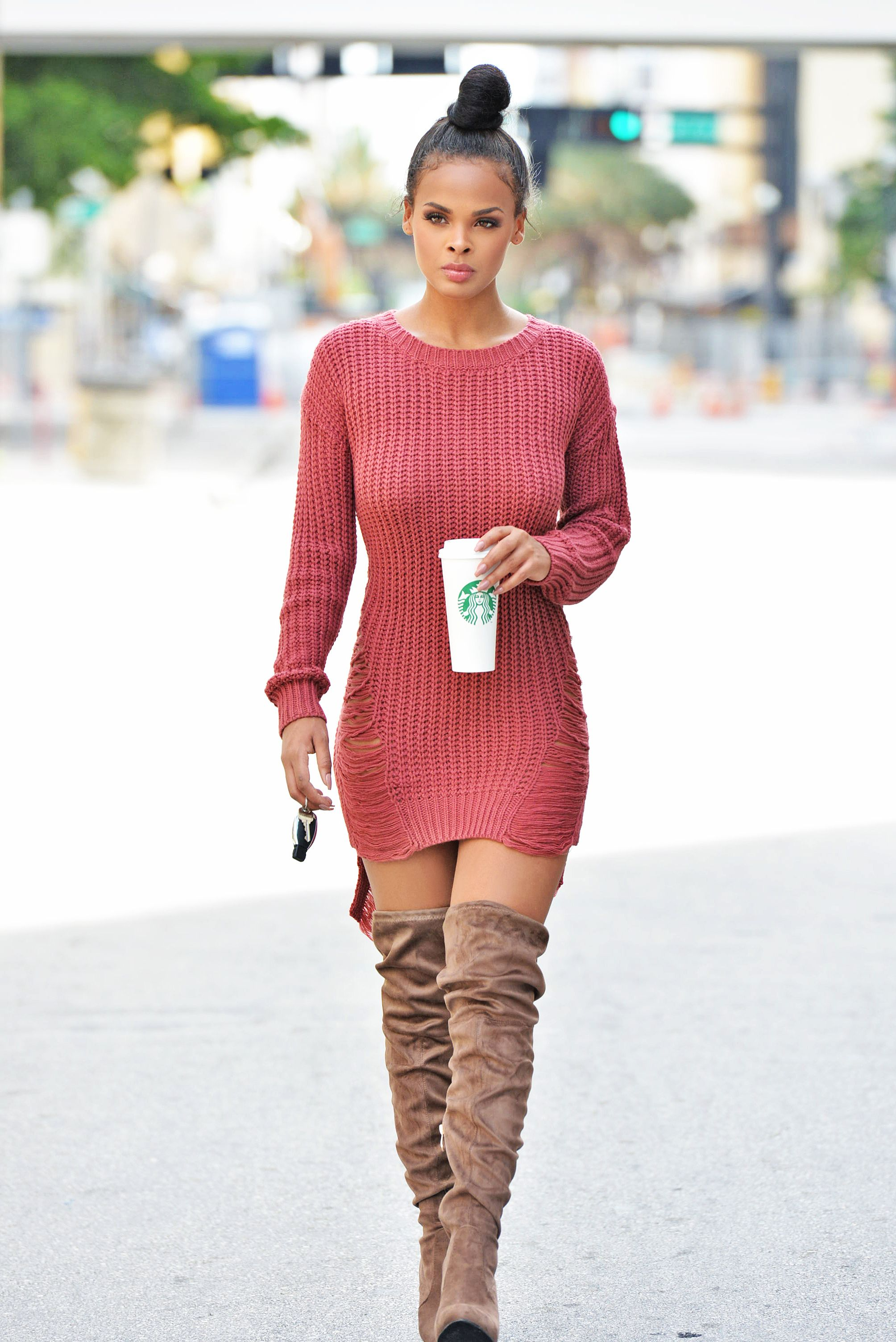 43cfac2f41b8 Sweater dress with boots | Everything Fashion | Fashion, Dress with ...