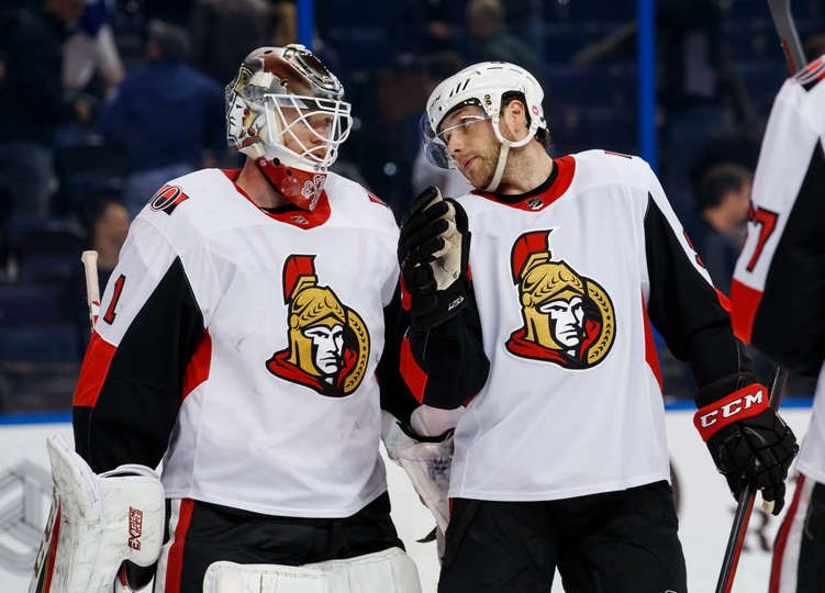 TAMPA, FL MARCH 13 Goalie Mike Condon 1 and teammates