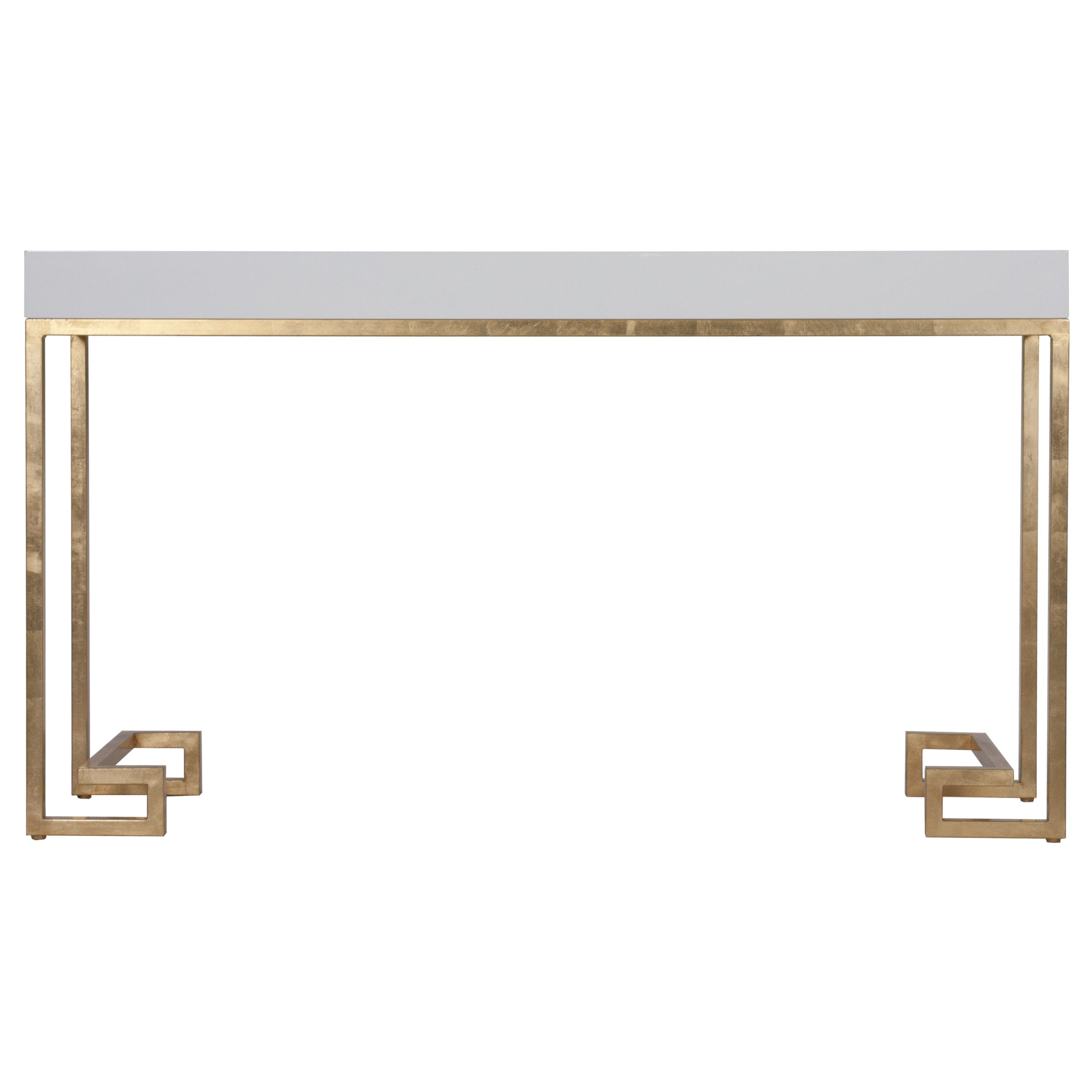 Modern hallway storage gold console table gold metal console table - Tables Worlds Away Barsanti White Lacquer Console With Gold Leaf Greek Key Base