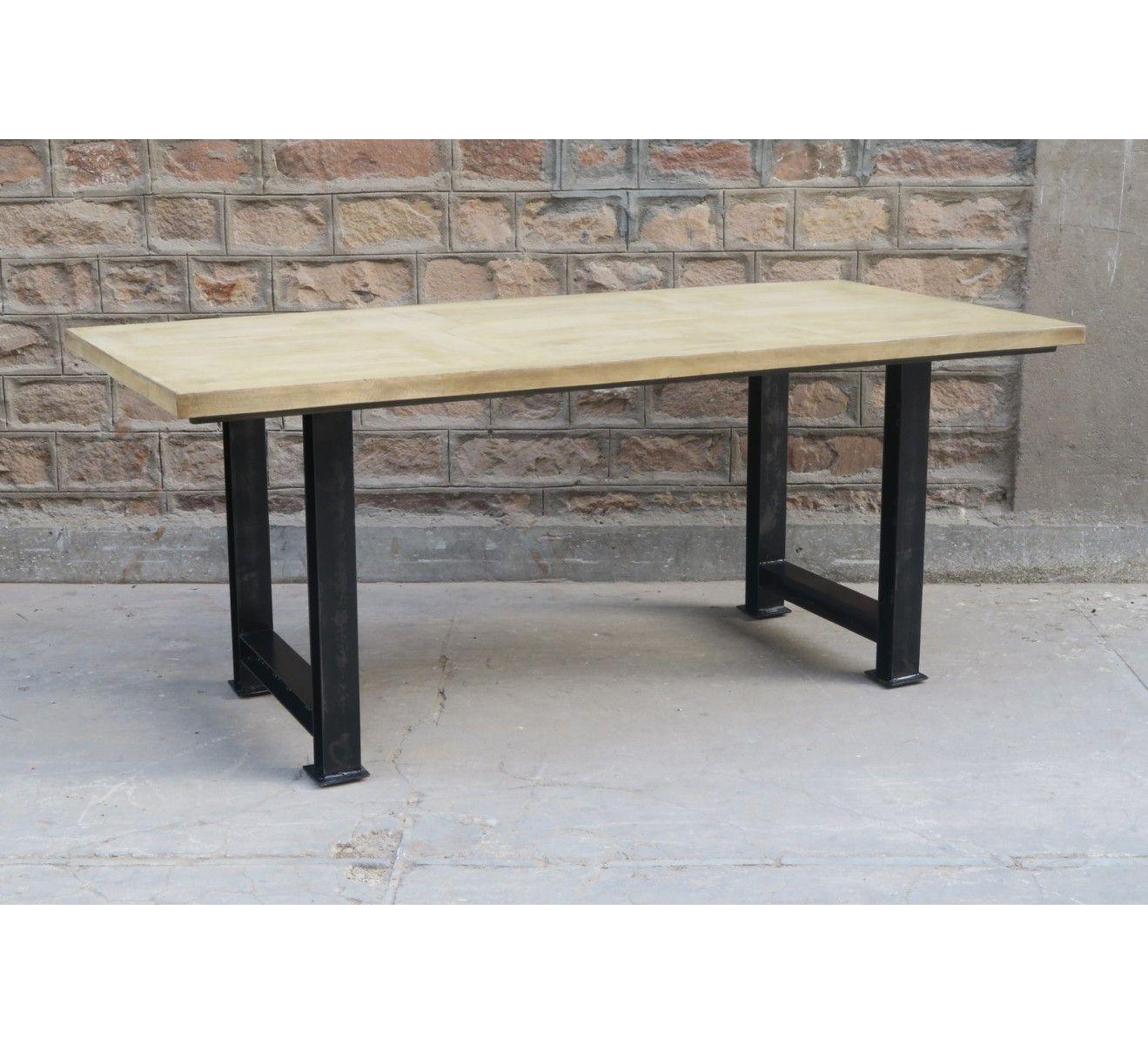 Caractere Table En Manguier Massif Et Metal H77 X L190 X P90 Cm Meuble House 518 50 Table Bois Massif Meuble House Table Bois