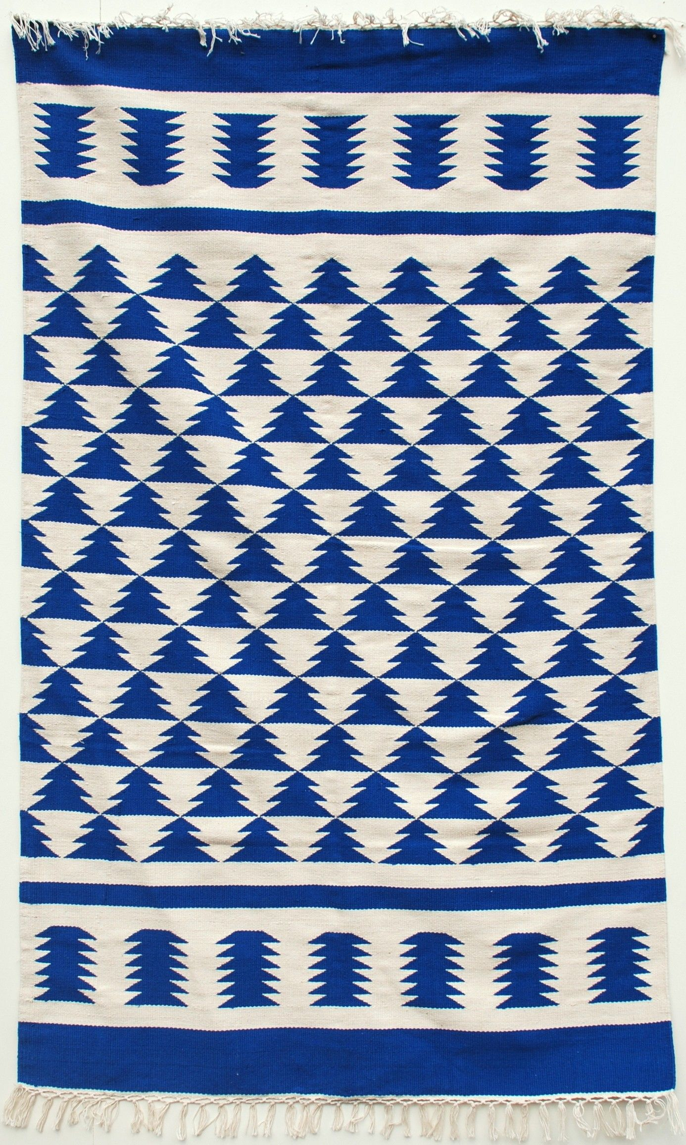 royal blue and off white aztec design dhurrierug rugs dhurries
