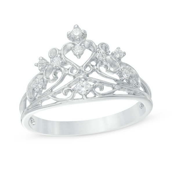 1 8 Ct T W Diamond Crown Ring In Sterling Silver