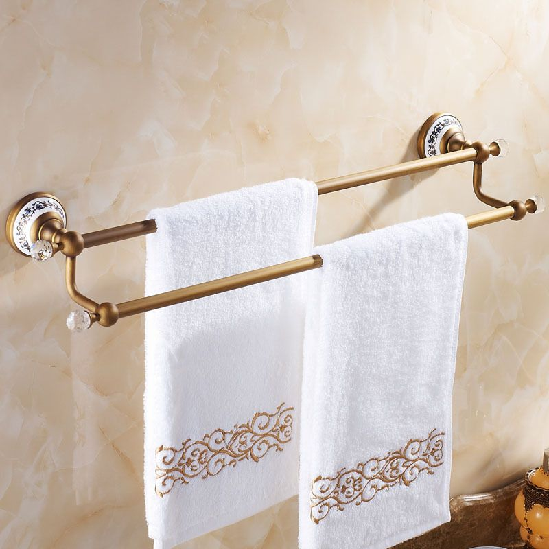 crystal bathroom accessories sets%0A Europe Antique Bathroom Towel Rack Luxury Porcelain  u     Crystal Towel Holder  Wall Mounted Brass Bathroom Accessories