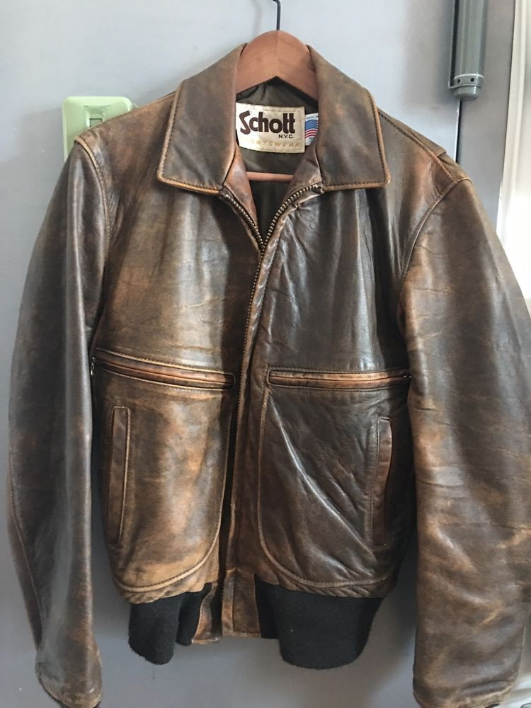 1980 s Vintage Schott NYC Leather Bomber Jacket Size 38  Schott 3436f674519
