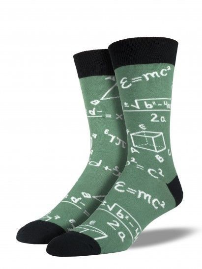 Life is one giant equation. How nice would it be to have that equation stitched onto your foot when you leave the house? Now you can with these epic socks! Well, maybe not the equation of life, but Ei