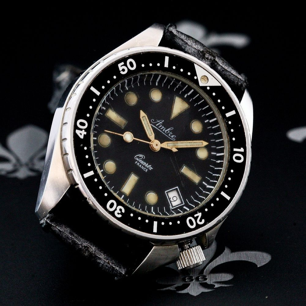 63668e733 1970's AMBRE France S/S 10ATM Vintage Diving Watch Cal. 2169-3 Yema Sous  Marine