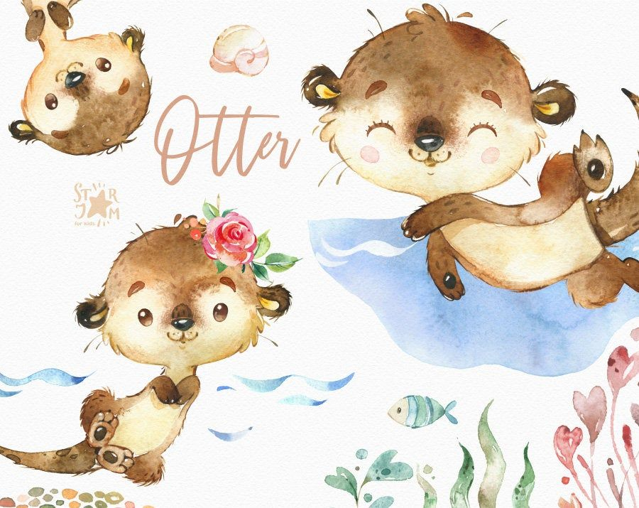 Otter Watercolor Little Animal Clipart Baby Kid Wreath Etsy Animal Clipart Baby Clip Art Otters