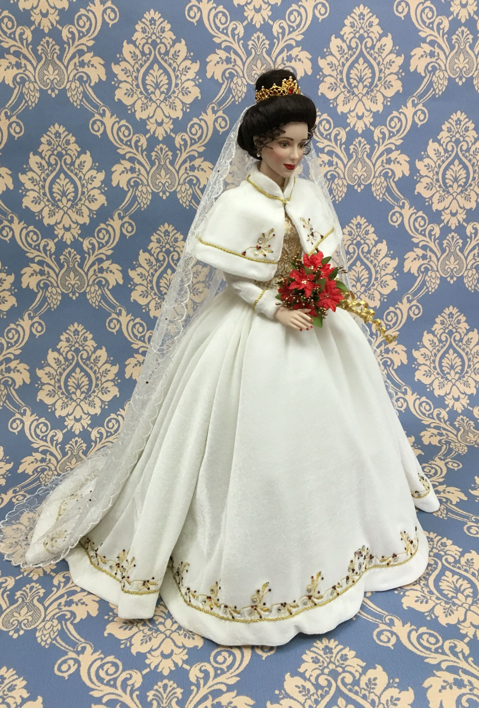 Katerina The Faberge Holiday Bride Doll Crafted In Fine Hand Painted Porcelain She Wears A Gown And Shawl Of White Bride Dolls Barbie Costume Doll Dress [ 2414 x 1634 Pixel ]