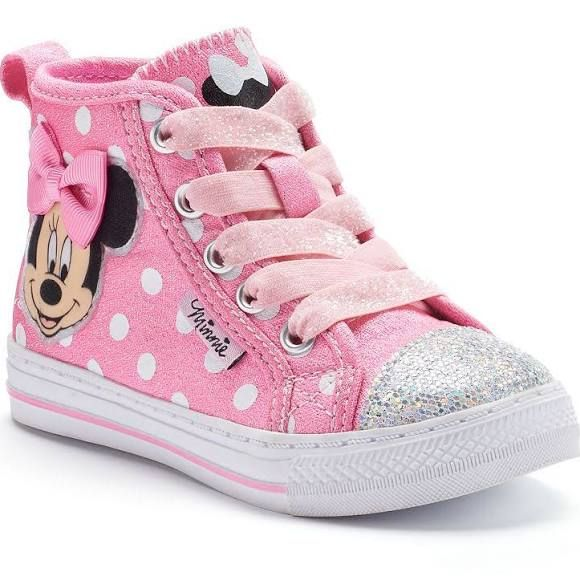 Disney's Minnie Mouse Toddler Girls' Glitter High-Top Sneakers, Girl's, Size: 9 T, Pink