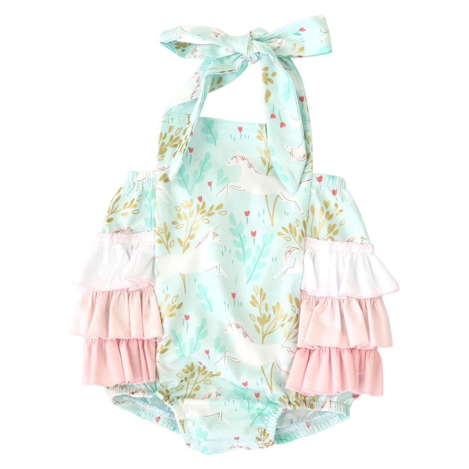 68f3ba1eef20 Our ruffle bubbles are the perfect outfit for summer fun and baby pictures!  Caden Lane s ruffle bubble rompers ...