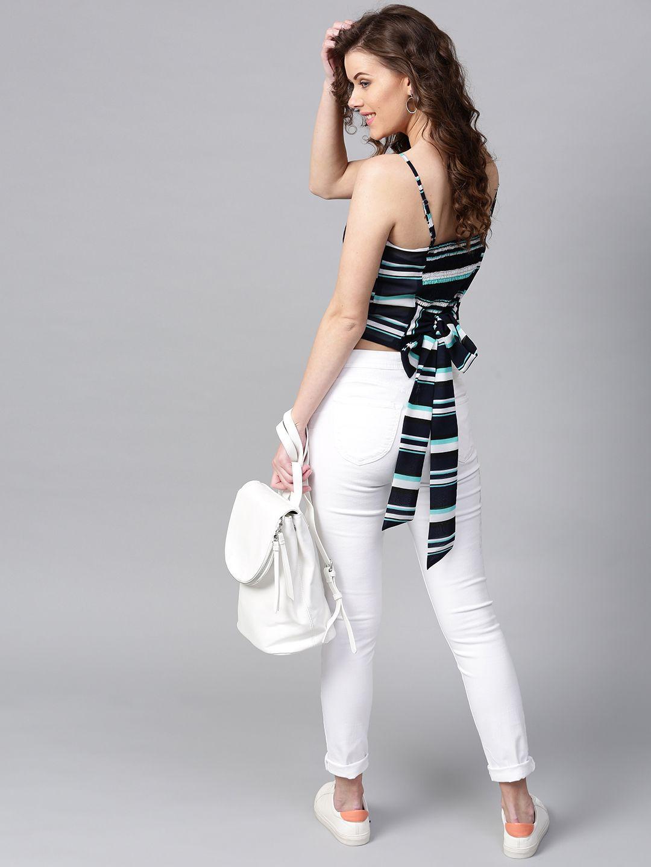 398082521a848 Buy SASSAFRAS Women Navy Blue Striped Fitted Crop Top - Tops for Women  2472417