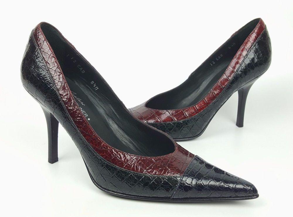 0ae34c5b1ec Donald J. Pliner shoes 8.5 M black dk red croc embossed leather ...