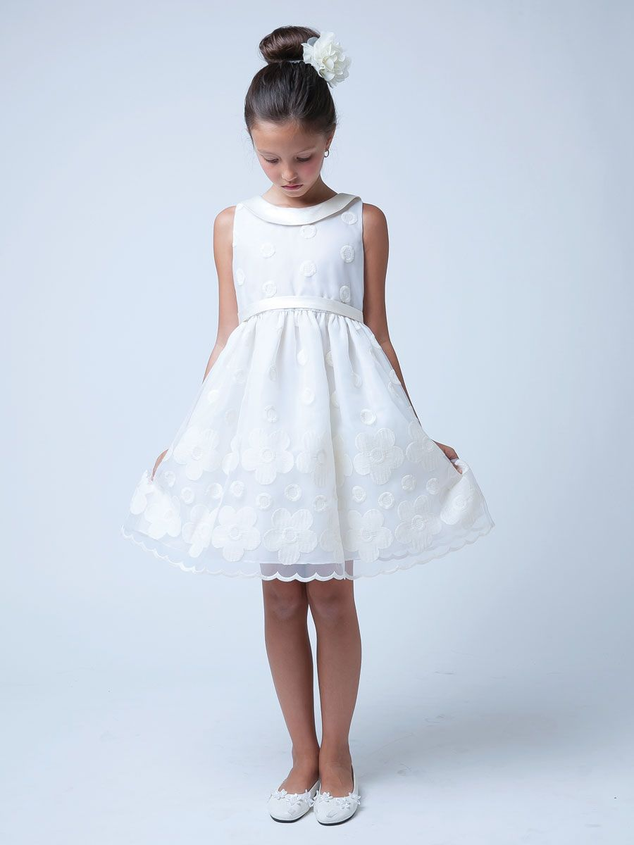 Flower and dot embroidered organza with collar dress enfants