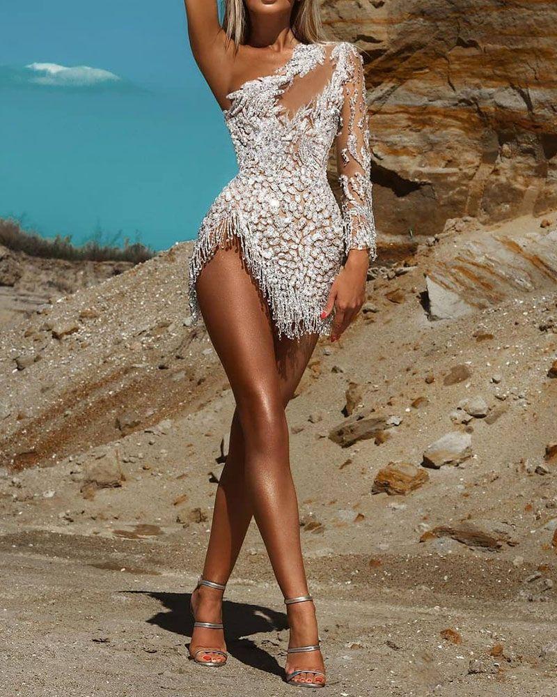 Irregular Sleeve Sequined Mini Evening Dress In 2021 Skinny Mini Dresses Evening Dresses Evening Mini Dresses [ 1000 x 800 Pixel ]
