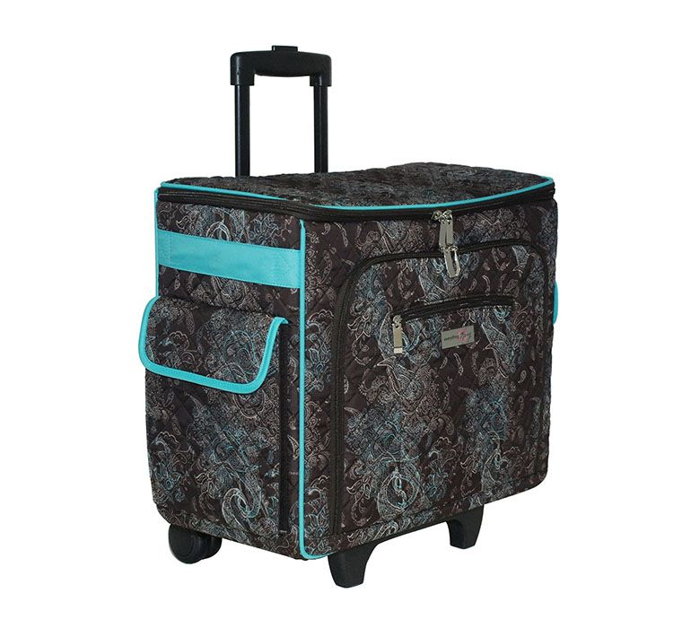 Everything Mary - Quilted Rolling Sewing Tote - Turquoise and Chocolate at  Scrapbook.com 5483df0c21517