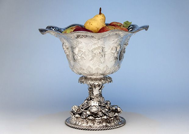 William Forbes for Ball, Black & Co Antique Coin Silver Large Centerpiece/ Punch bowl, New York City, 1852-62