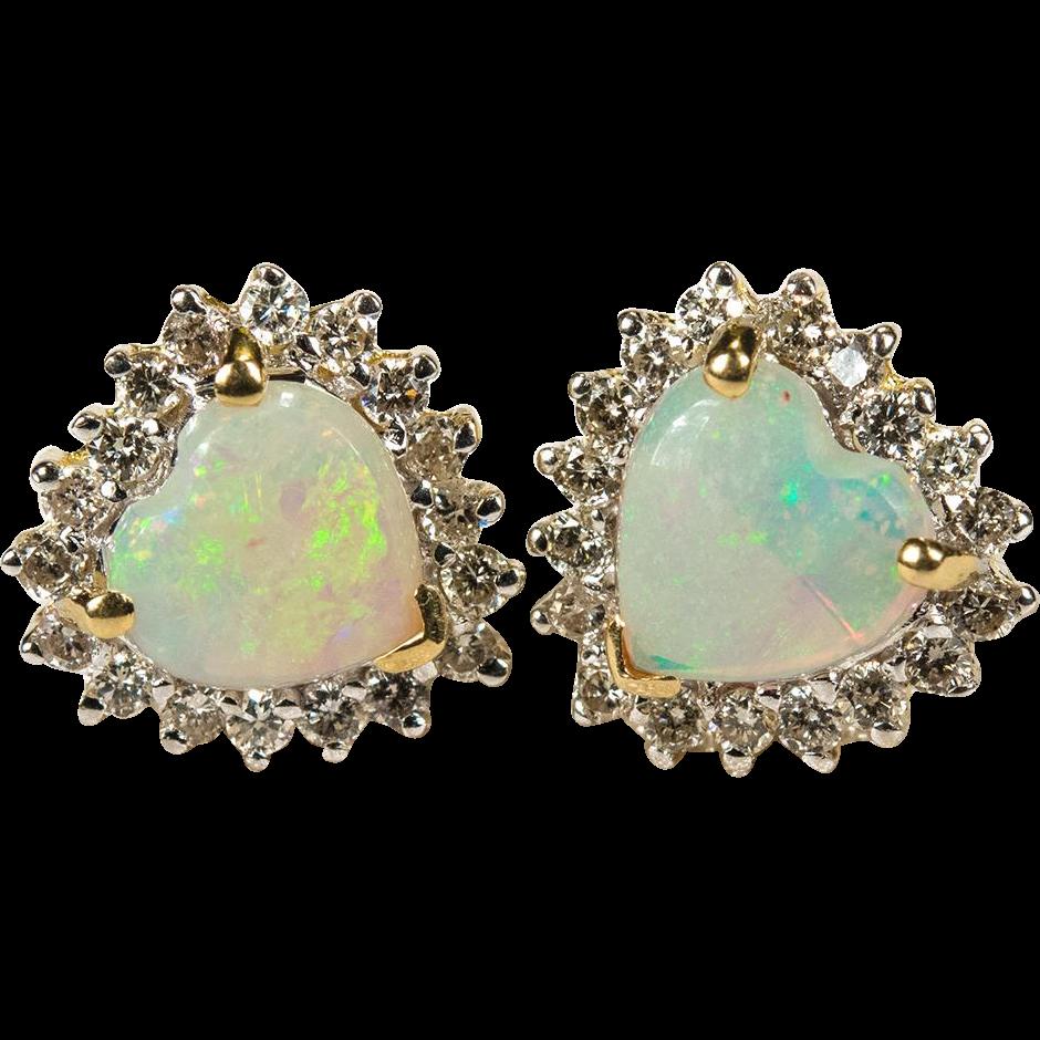 Natural Heart Opal Diamond Stud Earrings 14k Gold Studs