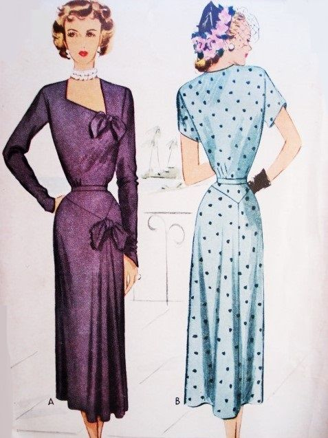 1940s STUNNING Day or Evening Cocktail Dress Pattern McCALL 7542 ...