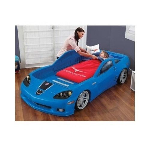 Convertible toddler twin bed corvette race car lights rims decals furniture room step2
