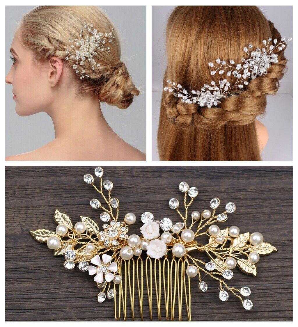 details about pearls wedding hair vintage crystal bridal