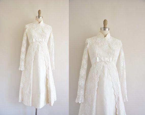 vestido de novia de manga larga en encaje, años 60, 285 $ | boda