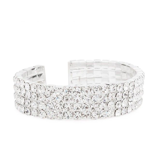 Jon Richard 4 Row Diamante Cuff Bracelet 18 Liked On Polyvore Cuff Bangles Cuff Bracelet Bracelets
