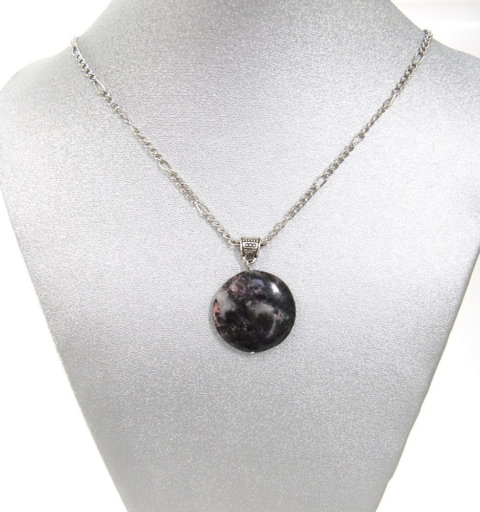 Natural Gemstone Rhodonite Pendant Necklace 16' Black Cord Made in USA Gift #Unknown #Pendant