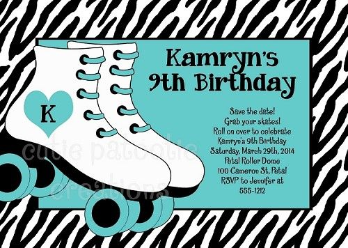 Roller skating party invitations turquoise teal zebra print roller skating party invitations turquoise teal zebra print rollerskate birthday invitation stopboris Gallery