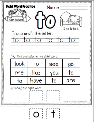 FREEBIE - Color, trace, write, find, cut and glue sight word - TO ...