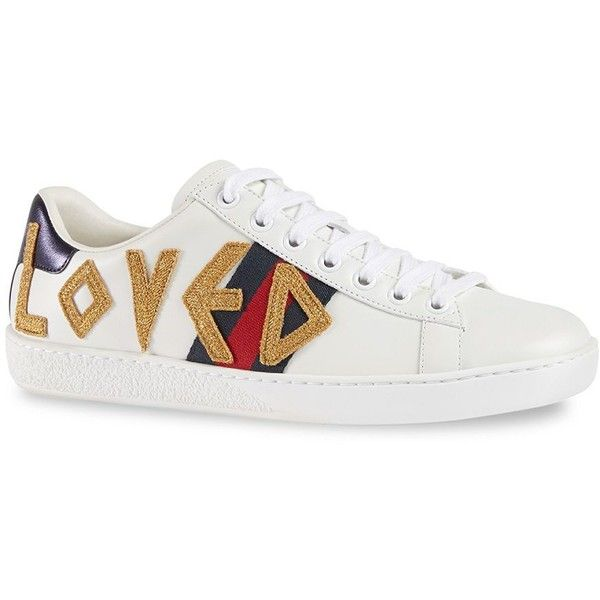 16a17de6cd0e9 Gucci New Ace Loved Leather Sneakers (404.145 CLP) ❤ liked on Polyvore  featuring shoes