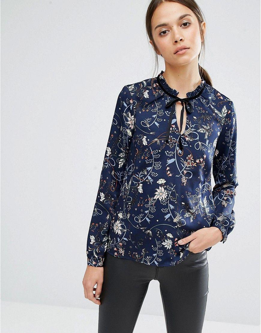 Image 1 of Vero Moda Ruffle Neck Floral Blouse